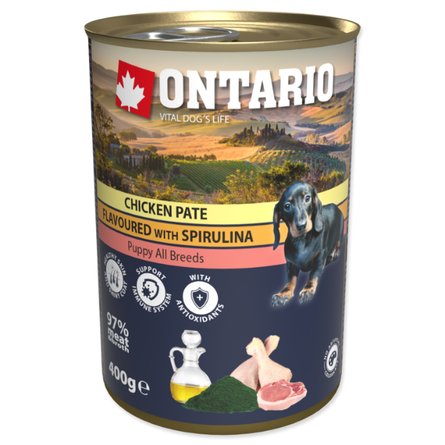 Picture of Konzerva ONTARIO Puppy Chicken Pate Flavoured With Spirulina And Salmon Oil